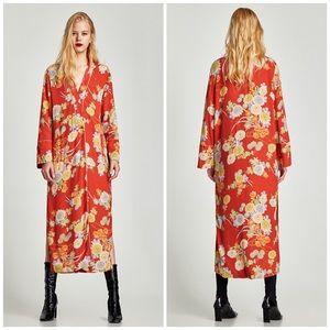 NWT Zara Floral Long Kimono Jacket
